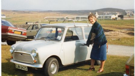 EAST ANGLIA NEWS SERVICE, tel. 07767 413379School teacher Margaret Irvine pictured with the Mini a