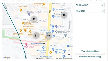 Met Police data showing number of crimes committed in the immediate vicinity of Gillett Square in March 2021.