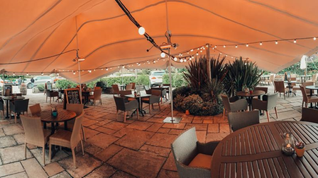 The tented area of The White Horse in Harpenden.