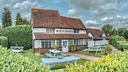The front garden at The White Horse in Harpenden.