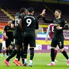 West Ham United's Michail Antonio (left) celebrates scoring their first goal of the game with teamma