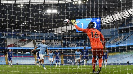 Edouard Mendy of Chelsea saves a penalty taken by Sergio Aguero of Manchester City during a Premier League match
