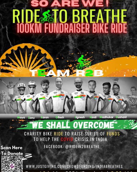 Ride to Breathe bike ride challenge poster with all proceeds going to thecovid crisis in India