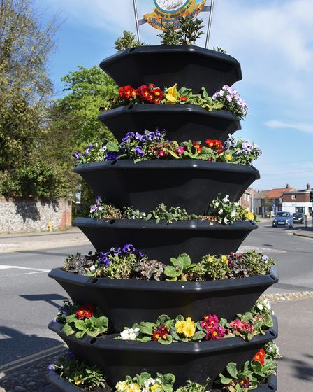 A floral feature in the High Street at Caister on Sea. Picture: DENISE BRADLEY