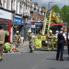London Fire Brigade help tidy fallen masonry in Crouch End's Topsfield Parade