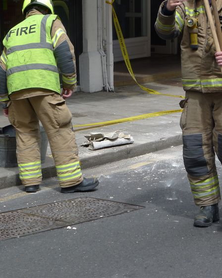 London Fire Brigade tidy up fallen masonry in Crouch End