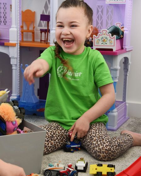 Four-year-old Harper Sharrocks of Hellesdon, who has cerebral palsy, will soon have a life-changing