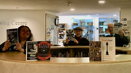 Librarian Justine Lister, Trilby Roberts and Edward Gildea at Saffron Walden County High School's Learning Centre
