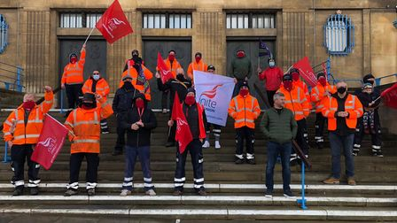 Members of the Unite union on the steps of City Hall in Norwich.