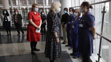 The Duchess of Cornwall speaks to Zoe Broadhead, a Critical Care Outreach Sister during a visit to the Whittington Hospital