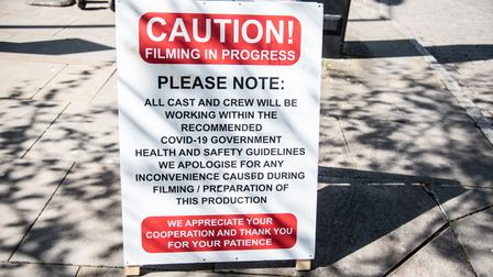 Film crews in the car park of St Nicholas Street in Ipswich on Tuesday 10th May. Picture: Sarah Luc