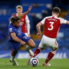 Chelsea's Reece James (left) and Arsenal's Kieran Tierney (right) battle for the ball during the Pre