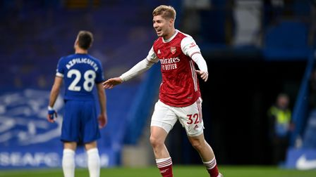 Arsenal's Emile Smith Rowe celebrates scoring their first goal of the game during the Premier League