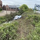 A car crashed into a ditch off Thamesfield Way in Great Yarmouth