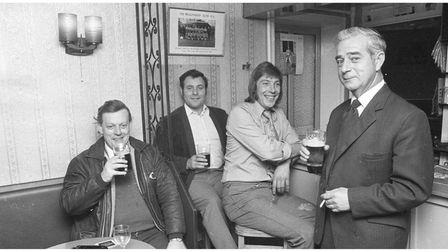 Enjoying a round of beers in the Brickmakers Arms in 1973