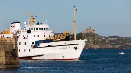 The Scillonian III arrives at Penzance Harbour