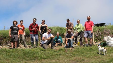 Members of the Outdoor University of Cornish Hedging