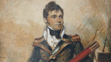 A watercolour of Captain Sir William Hoste wearing his gold naval medal