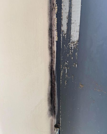 Black mould surrounds the windows which are screwed shut in Mr Gallant's flat