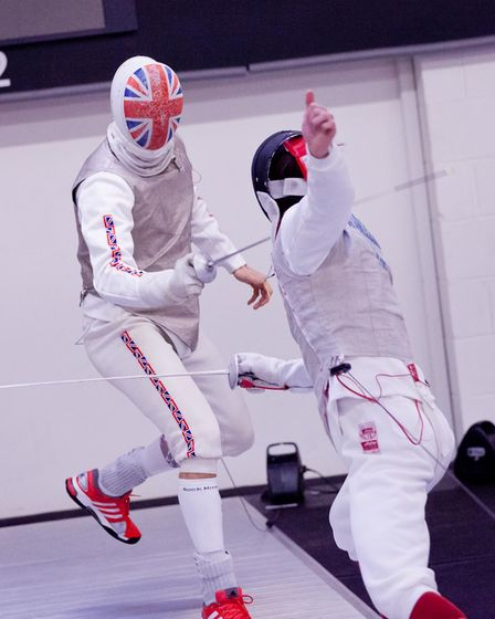 Richard Kruse, sporting his GB mask, in action at the Leon Paul Fencing Centre in Hendon