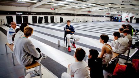 Richard Kruse talks to youngsters in Hendon about his competitive career