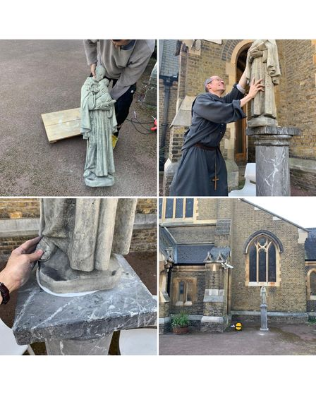 Montage of statue