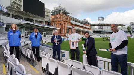 MCC and NHS staff with Rabbi Cohen to mark the end of innings forLord's Covid vaccine centre