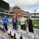 MCC and NHS staff with Rabbi Cohen to mark the end of innings for Lord's Covid vaccine centre