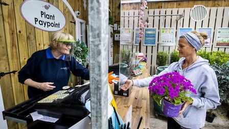 Customer Joanne McConville buying flowers at Dundonald Nurseries in Belfast as Garden Centres in No