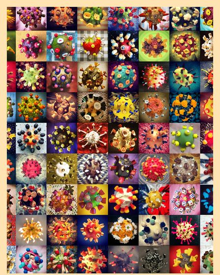 """A collage of all one hundred """"Covids"""" called Mutations."""