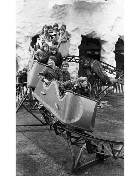 Children enjoying one of the smaller rollercoasters at Mannings on Free Ride Day in 1983