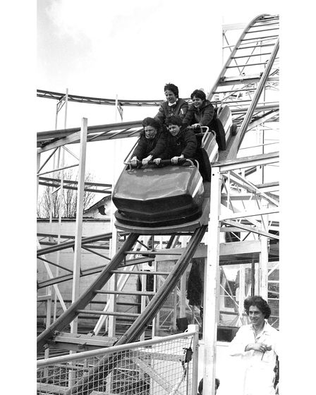 A rollercoaster at Free Rides Day in 1983