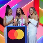 Little Mix accept the award for Best British Group during the Brit Awards 2021 at the O2 Arena, Lond