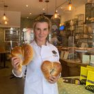 Tami Isaacs Pearce with the challah hearts at Karma Bread