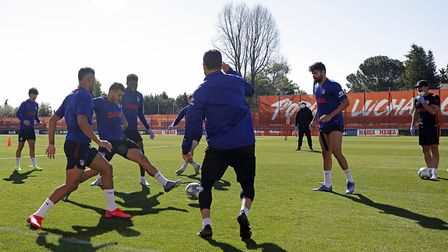Atletico Madrid team players take part in the first group training session in Madrid, Spain. (Atleti