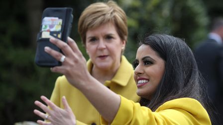 Nicola Sturgeon with Anum Qaisar-Javed, the SNP candidate for the Airdrie and Shotts by-election
