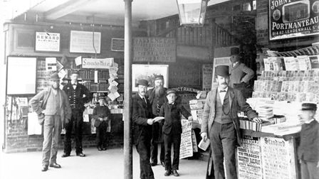 North Herts Museum is featuring this photograph ofa book stall at Hitchin train station in 1881