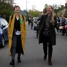 LONDON, ENGLAND - MAY 05: Sian Berry (R), Green Party Mayoral Candidate walks along a street with Gr