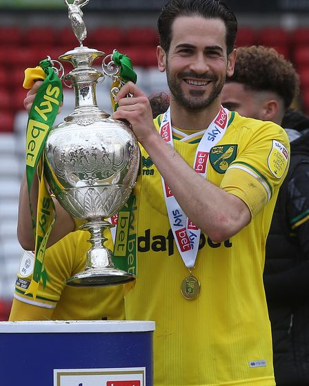 Mario Vrancic of Norwich with the EFL Championship trophy