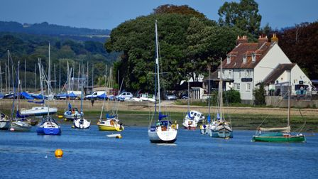 Crown & Anchor pub overlooking the Chichester harbour in West Sussex