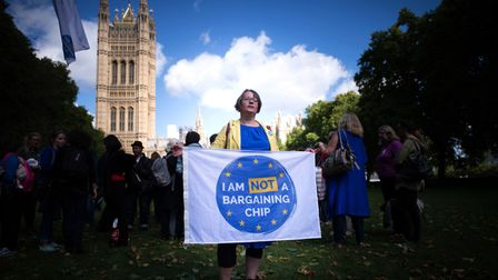 EU citizens lobbying MPs to guarantee post-Brexit rights. Photograph: Stefan Rousseau/PA
