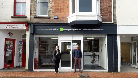 Members of the holidaycottages.co.ukteam outside the company's new office on Braunton's Caen Street