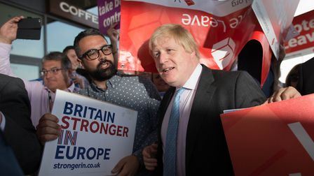 Boris Johnson (centre) meets both Vote Leave and Britain Stronger In Europe supporters. Photograph:
