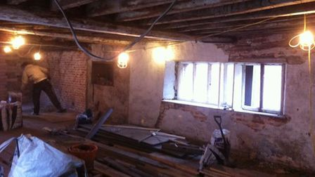 Beforethe transformation of the upstairs hall at The Shambles in North Walsham.