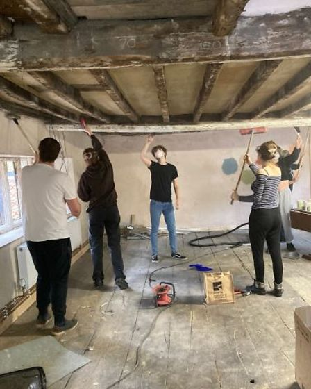Work in progress on the transformation of the upstairs hall at The Shambles in North Walsham.