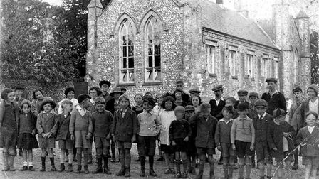 A group outside the school in the 1930s.