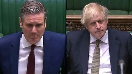 Sir Keir Starmer and prime minister Boris Johnson during a session of PMQs in the House of Commons;