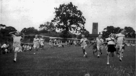 A school sports day on the village rec in the 1950s.