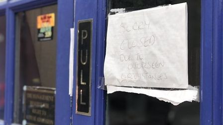 The note that was on the door of the Blueberry when it closed in September last year. Pic: Archant