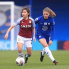 Aston Villa's Mana Iwabuchi (left) and Chelsea's Melanie Leupolz in action during the FA Women's Sup